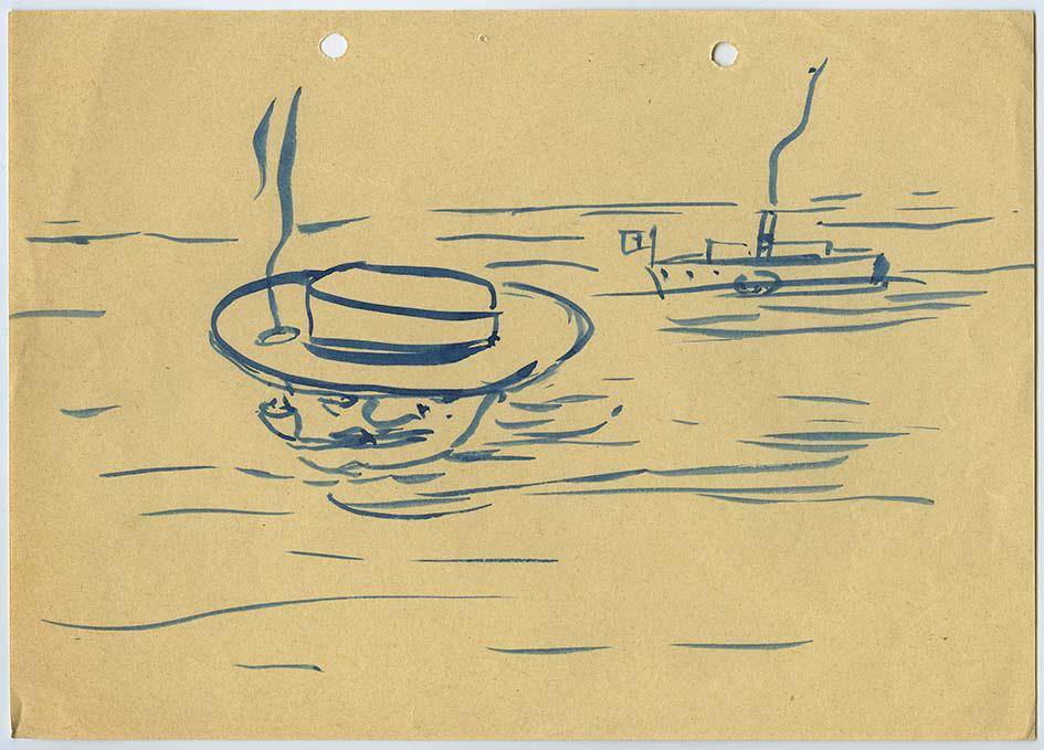 Uno dei disegni di Ernesto Nathan Rogers esposti a Trieste il 16 marzo 2014