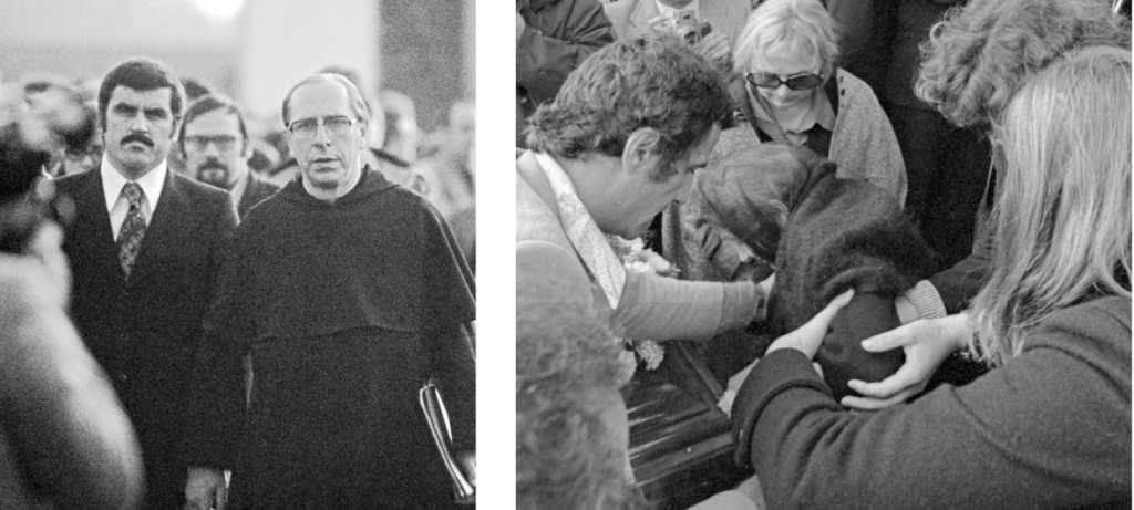 Padre David Maria Turoldo che terrà l'orazione funebre per Pasolini, Casarsa 6 novembre 1975 (foto di Claudio Ernè).